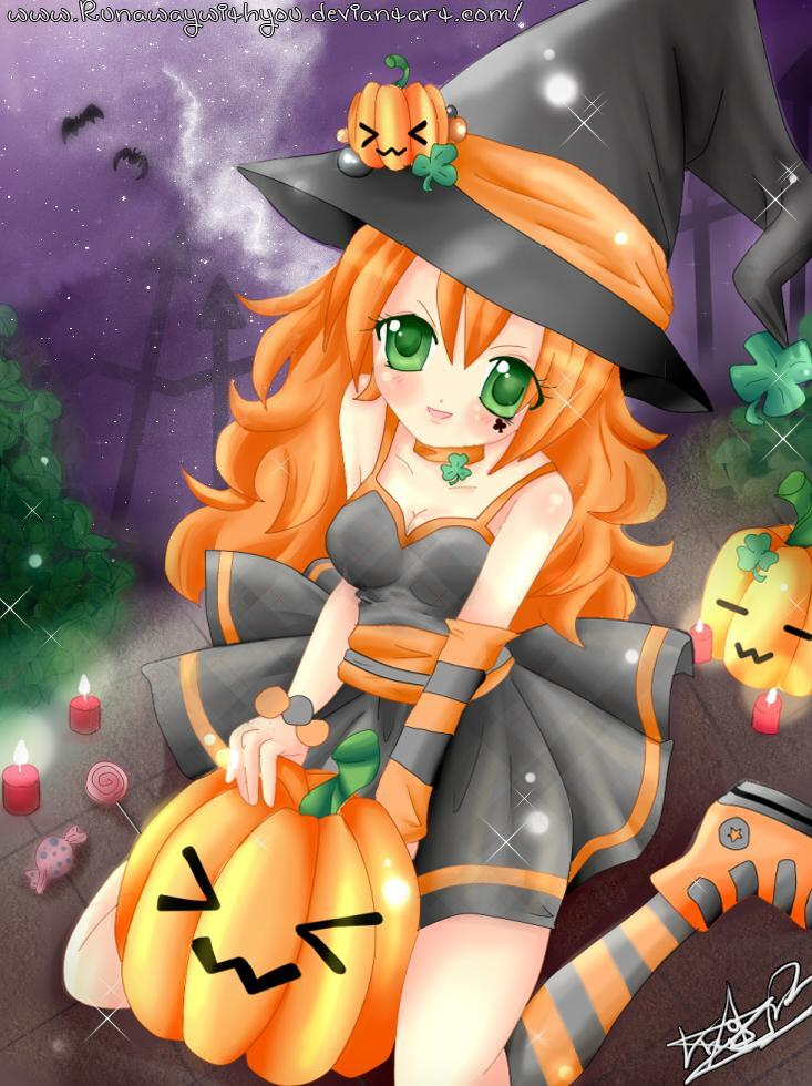 Magic Halloween Pictures in Anime